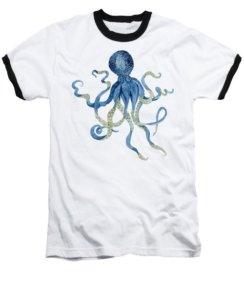Indigo Ocean Blue Octopus  Baseball T-Shirt by Audrey Jeanne Roberts