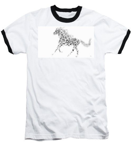 Baseball T-Shirt featuring the drawing Ink Splattered Stallion by Nick Gustafson