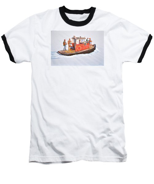 Into The Mist-the Crew Boat Baseball T-Shirt by Gary Giacomelli