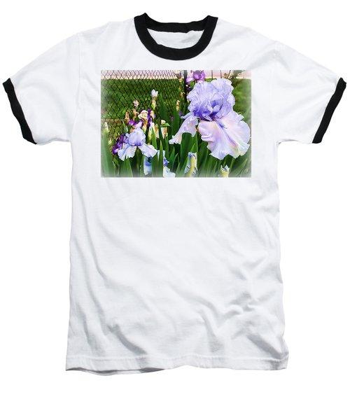 Iris At Fence Baseball T-Shirt by Larry Bishop