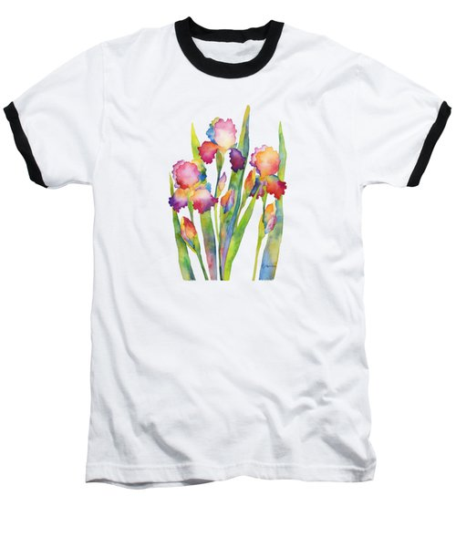Baseball T-Shirt featuring the painting Iris Elegance by Hailey E Herrera