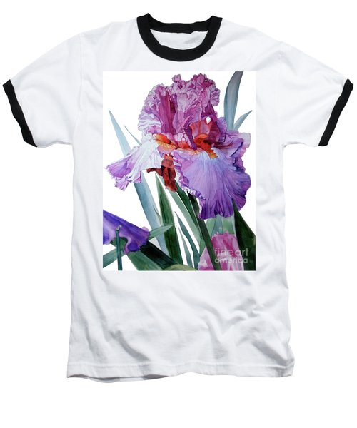 Watercolor Of A Tall Bearded Iris In Pink, Lilac And Red I Call Iris Pavarotti Baseball T-Shirt