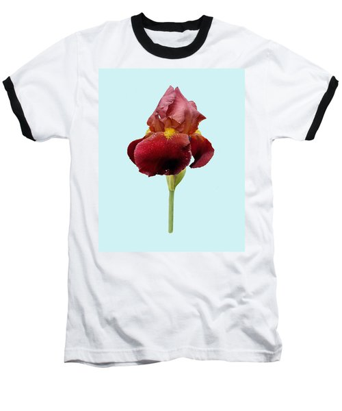 Baseball T-Shirt featuring the photograph Iris Vitafire Blue Background by Paul Gulliver