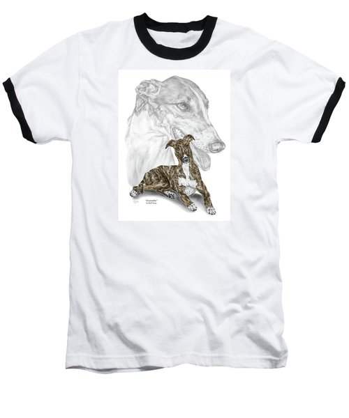 Irresistible - Greyhound Dog Print Color Tinted Baseball T-Shirt by Kelli Swan