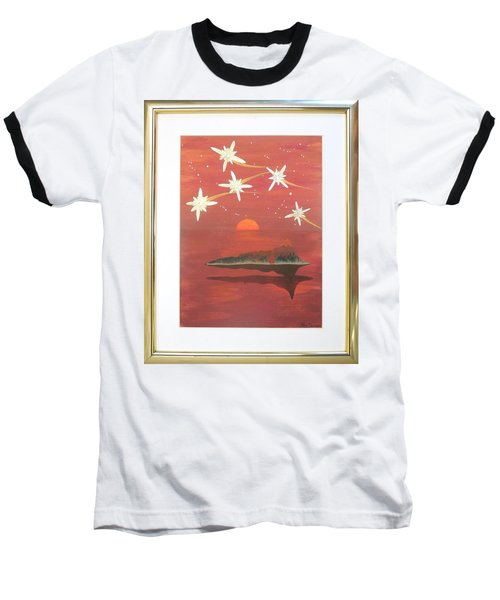 Baseball T-Shirt featuring the painting Island In The Sky With Diamonds by Ron Davidson