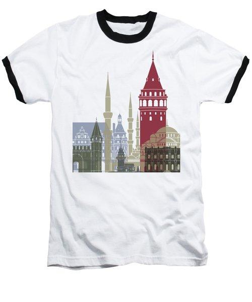 Istanbul Skyline Poster Baseball T-Shirt