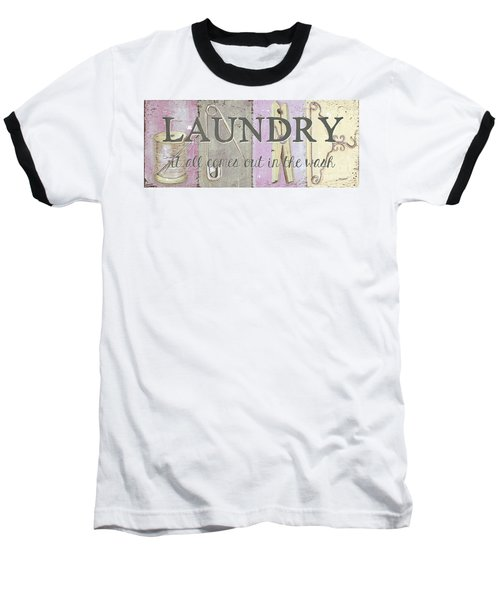 Baseball T-Shirt featuring the painting It All Comes Out In The Wash by Debbie DeWitt