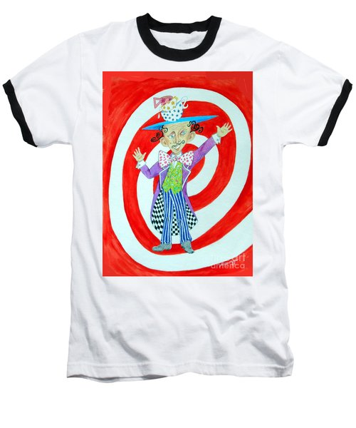 It's A Mad, Mad, Mad, Mad Tea Party -- Humorous Mad Hatter Portrait Baseball T-Shirt