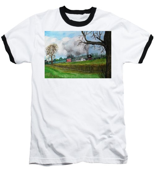 It's All Uphill To Scotland Baseball T-Shirt by Carole Robins