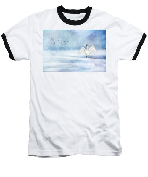 Baseball T-Shirt featuring the photograph It's Snowing by Annie Snel