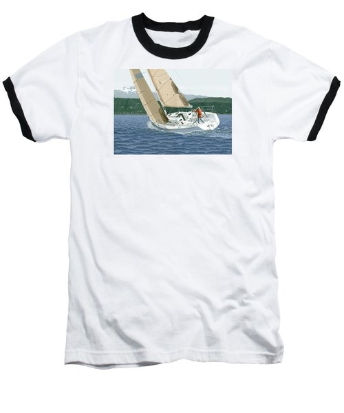 J-109 Sailboat Off Comox B.c. Baseball T-Shirt
