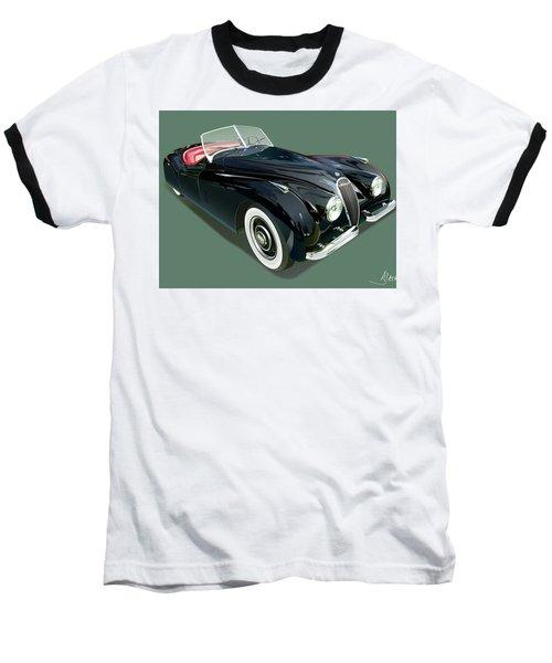 Jaguar Xk 120 Illustration Baseball T-Shirt by Alain Jamar
