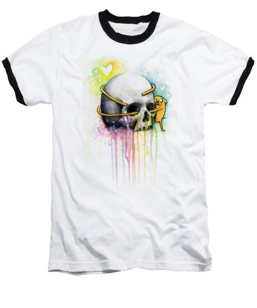 Jake The Dog Hugging Skull Adventure Time Art Baseball T-Shirt