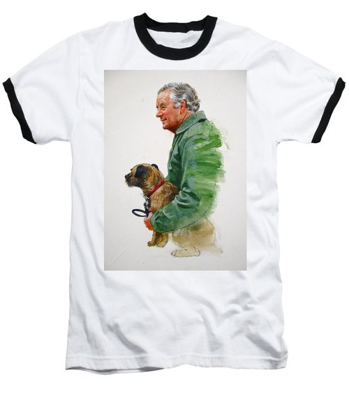 James Herriot And Bodie Baseball T-Shirt by Cliff Spohn