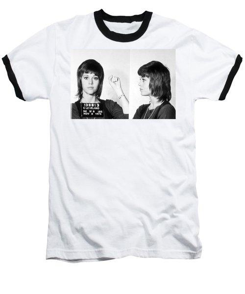 Jane Fonda Mug Shot Horizontal Baseball T-Shirt