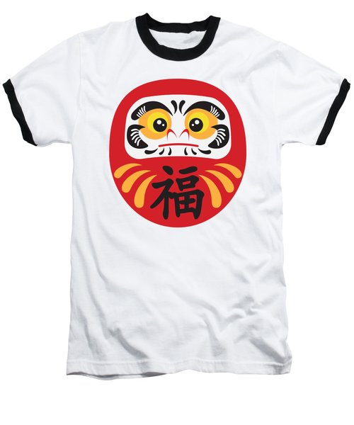 Japanese Daruma Doll Illustration Baseball T-Shirt