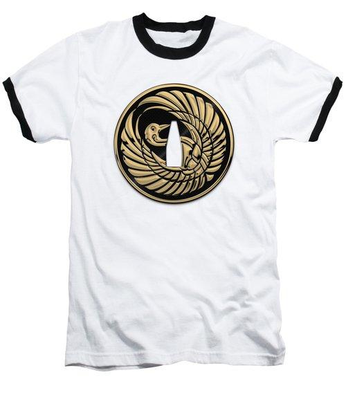 Japanese Katana Tsuba - Golden Crane On Black Steel Over White Leather Baseball T-Shirt