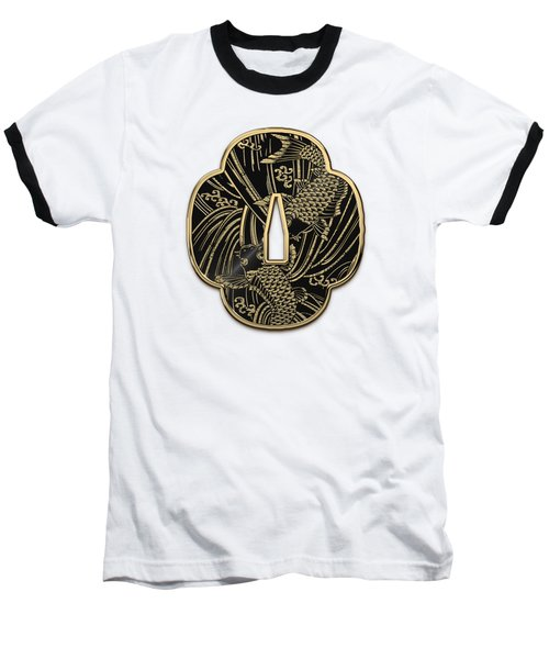 Japanese Katana Tsuba - Golden Twin Koi On Black Steel Over White Leather Baseball T-Shirt