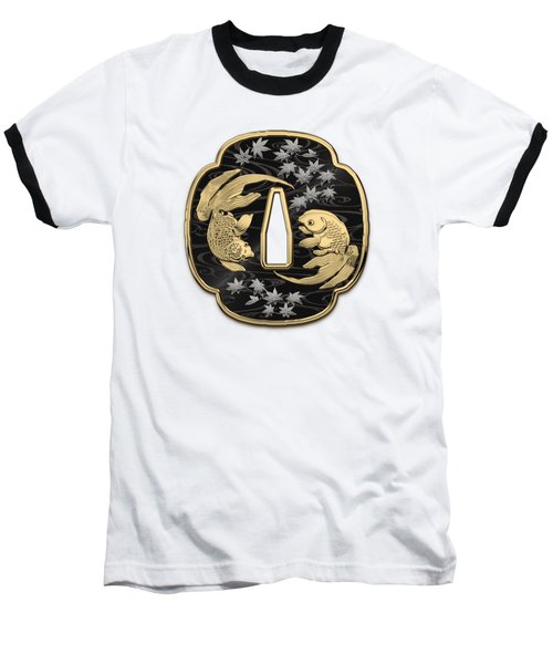 Japanese Katana Tsuba - Twin Gold Fish On Black Steel Over White Leather Baseball T-Shirt
