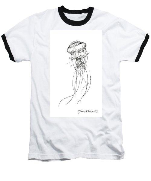 Jellyfish Sketch - Black And White Nautical Theme Decor Baseball T-Shirt