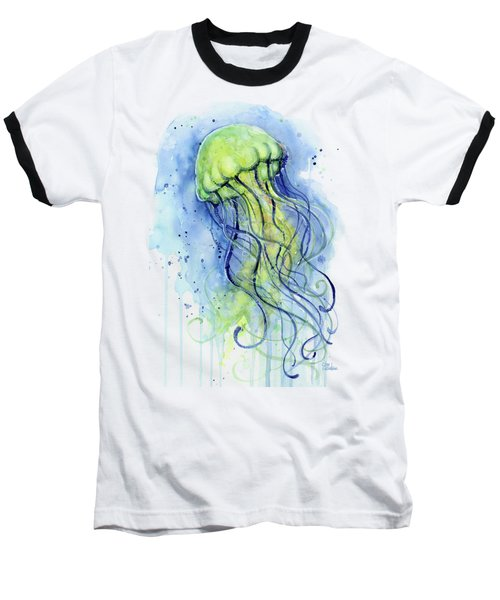 Jellyfish Watercolor Baseball T-Shirt