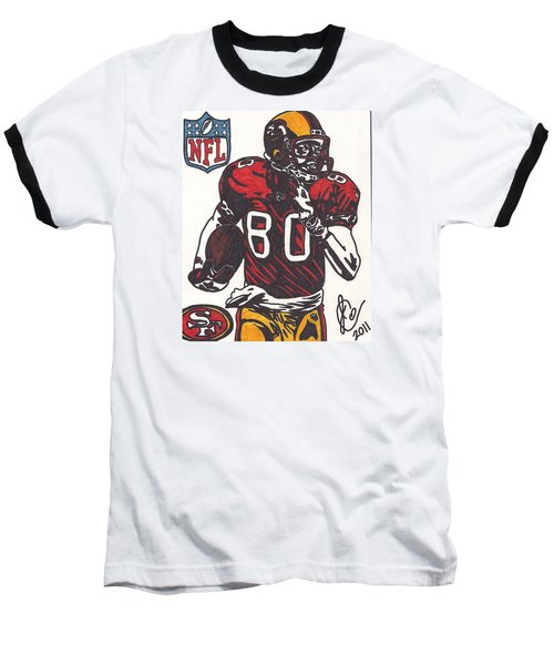 Baseball T-Shirt featuring the drawing Jerry Rice by Jeremiah Colley