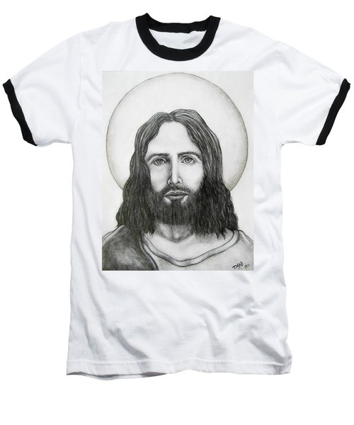Baseball T-Shirt featuring the drawing Jesus Christ by Michael  TMAD Finney