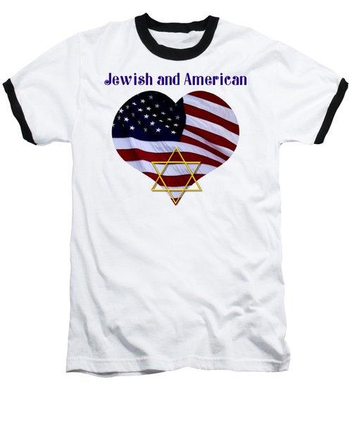 Jewish And American Flag With Star Of David Baseball T-Shirt by Rose Santuci-Sofranko