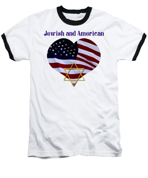 Baseball T-Shirt featuring the photograph Jewish And American Flag With Star Of David by Rose Santuci-Sofranko