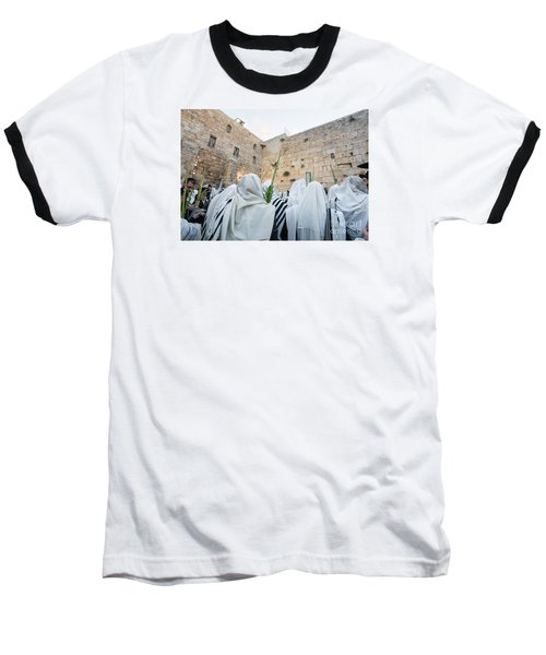 Jewish Sunrise Prayers At The Western Wall, Israel 10 Baseball T-Shirt