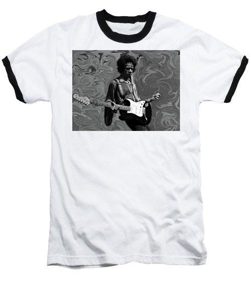Baseball T-Shirt featuring the photograph Jimi Hendrix Purple Haze B W by David Dehner