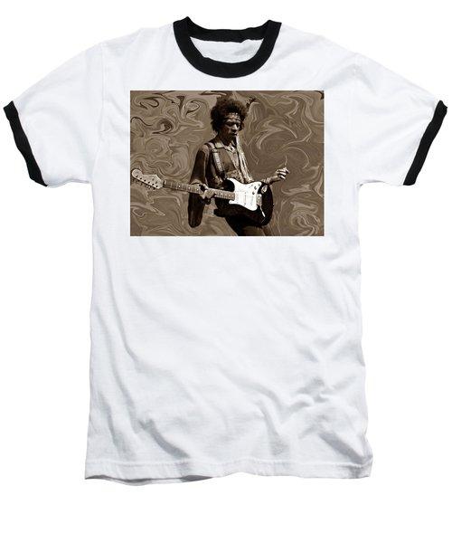 Baseball T-Shirt featuring the photograph Jimi Hendrix Purple Haze Sepia by David Dehner