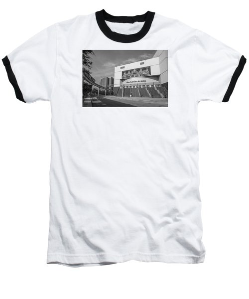 Joe Louis Arena Black And White  Baseball T-Shirt by John McGraw