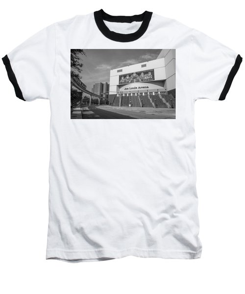 Joe Louis Arena Black And White  Baseball T-Shirt