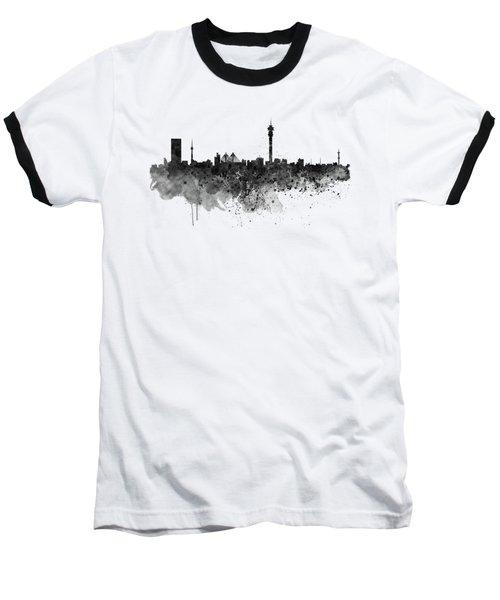 Johannesburg Black And White Skyline Baseball T-Shirt