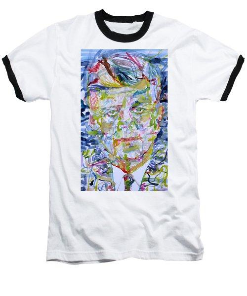 Baseball T-Shirt featuring the painting John F. Kennedy - Watercolor Portrait.2 by Fabrizio Cassetta