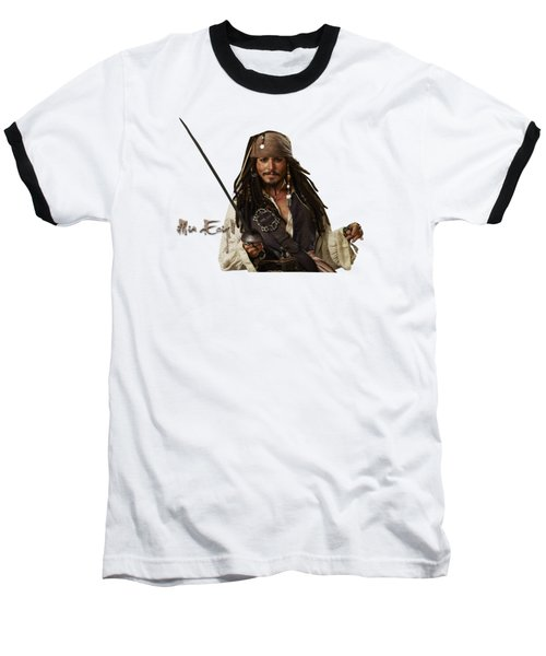 Johnny Depp, Pirates Of The Caribbean Baseball T-Shirt by Maria Astedt