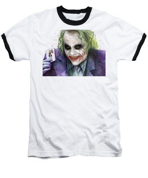 Joker Watercolor Portrait Baseball T-Shirt