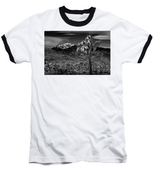 Baseball T-Shirt featuring the photograph Joshua Tree In Black And White In Joshua Park National Park With The Little San Bernardino Mountains by Randall Nyhof