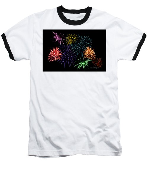Baseball T-Shirt featuring the photograph July Fireworks Montage by Terri Harper