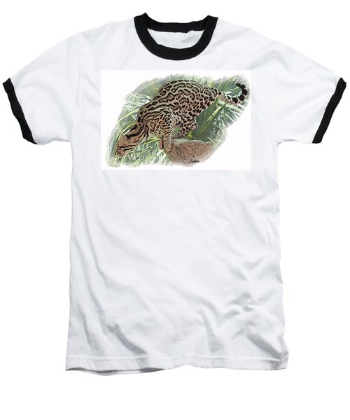 Pouncing Ocelot Baseball T-Shirt