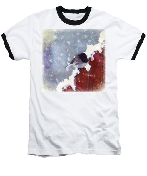 Baseball T-Shirt featuring the digital art Junco In The Snow, Square by Christina Lihani