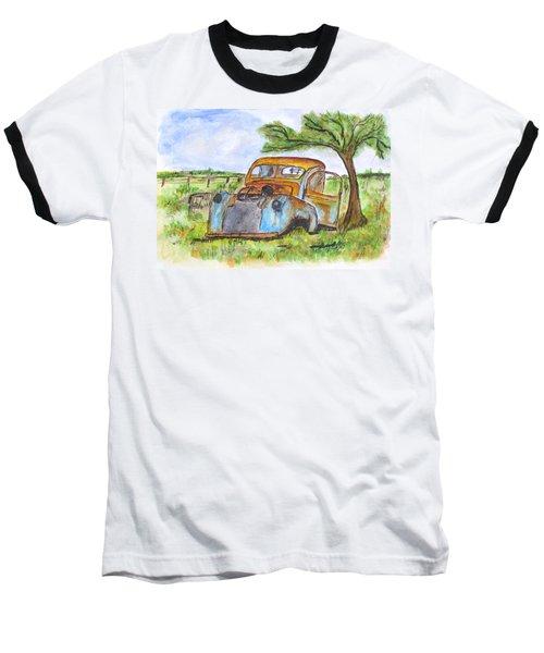 Junk Car And Tree Baseball T-Shirt by Clyde J Kell