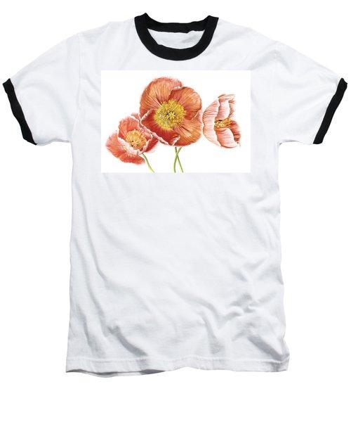 Just Peachy Poppies Baseball T-Shirt by David and Carol Kelly