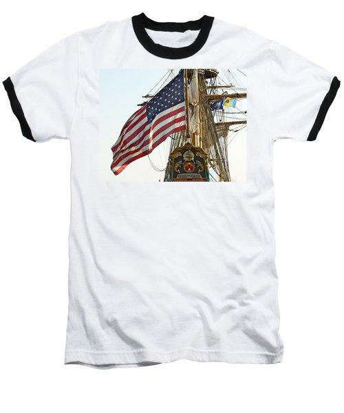 Kalmar Nyckel American Flag Baseball T-Shirt by Alice Gipson