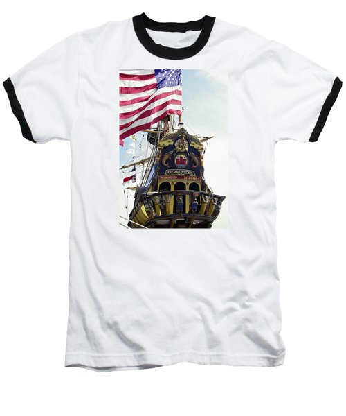 Kalmar Nyckel Tall Ship Baseball T-Shirt by Sally Weigand