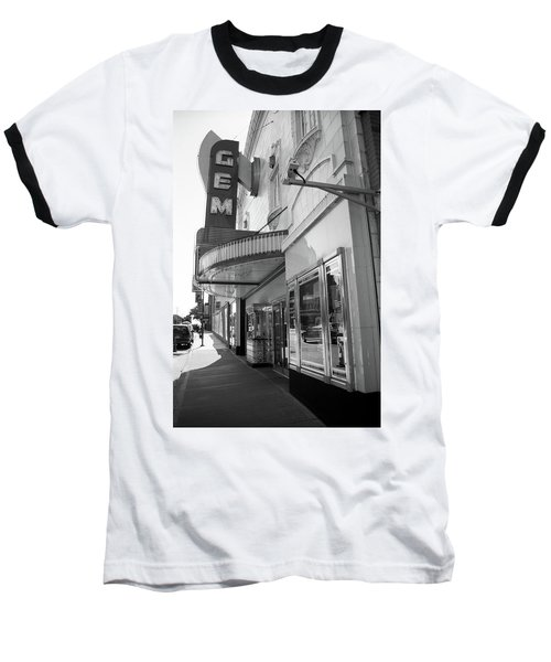 Baseball T-Shirt featuring the photograph Kansas City - Gem Theater 2 Bw  by Frank Romeo