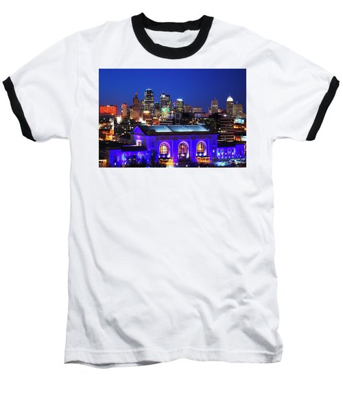 Kansas City Skyline At Night Baseball T-Shirt