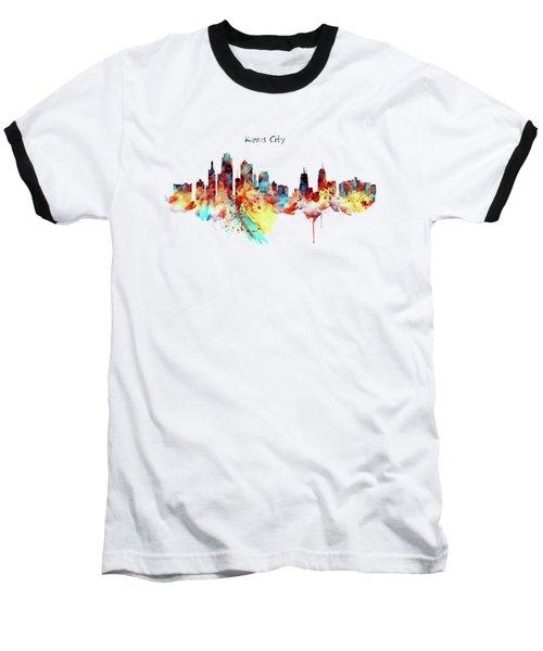 Kansas City Skyline Silhouette Baseball T-Shirt