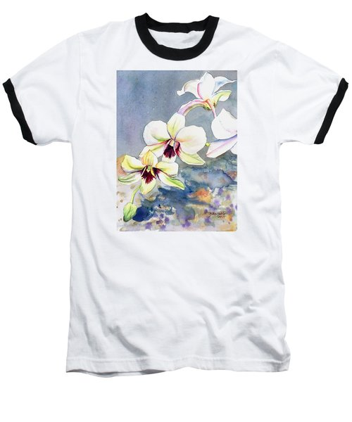 Baseball T-Shirt featuring the painting Kauai Orchid Festival by Marionette Taboniar